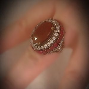 RUBY FINE ART RING Size 10.5 Solid 925 Silver/Gold